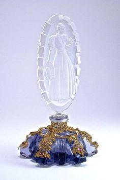 1920s Czechoslovakian Perfume Bottle, Amethyst Crystal,