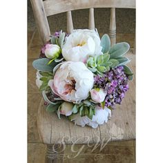 White Peony and Lavender Purple Hydrangea Succulent Wedding Bouquet ($165) ❤ liked on Polyvore featuring home, home decor, floral decor, lilac bouquet, purple peony bouquet, white home accessories, peony flower bouquet and purple home accessories