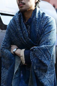 Indigo Camping Trailer : Japanese indigo print shawl • VISVIM || TOMMY TON photo