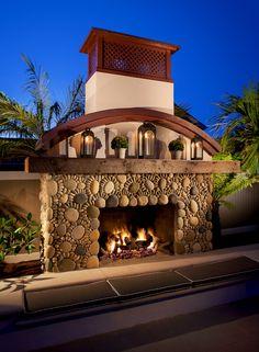 Hill Construction Company La Jolla / San Diego Custom Home - Beach Chic Outdoor Fireplace