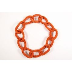 Pre-Owned Orange Crochet Knit Chain Link Oversized Statement Necklace ($75) ❤ liked on Polyvore featuring jewelry, necklaces, orange, oversized chain link necklace, oversized necklace, chain link jewelry, crochet necklace and chain necklace