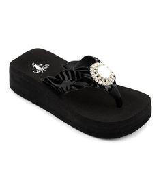 5d10e9d970a1 Black Zebra Jeweled Sandal by Corky s Footwear Little Cowgirl