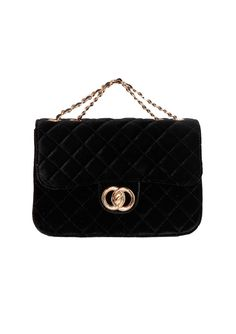 bfd2a43a810 Missyempire - Eda Black Quilted Gold Chain Bag Black Quilt