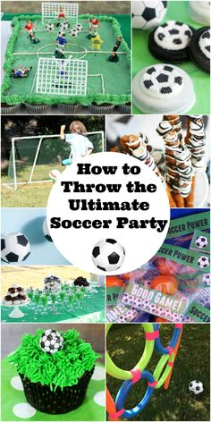 How To Throw The Ultimate Soccer Party - Planning a soccer party for your child? Check out this awesome list of ideas to throw the ULTIMATE soccer party! Food, crafts, decorations and more! Soccer Birthday Parties, Football Birthday, Sports Birthday, Soccer Party, Birthday Party Decorations, Birthday Ideas, Sports Party, 7th Birthday, Football Party Games