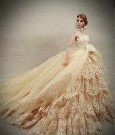 fashion doll, bride doll, lace ballgown