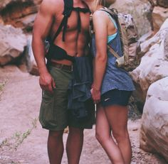 Climbing hiking couple cute picture