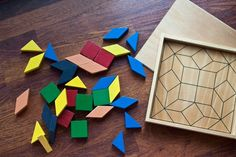 etsy find // vintage: wooden tanagrams puzzle set from carouselmarket, $22 - i want toys like this for my future kids. colors were exceptionally cool in this set.