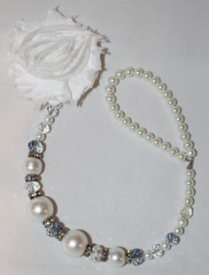Precious Pearl & Rhinestone Beaded Pacifier Holder for a little princess! Perfect for church or a special occasion!