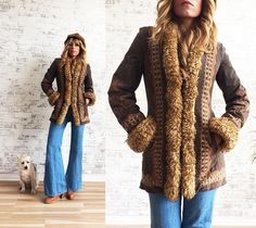 Vintage 1970's Embroidered AFGHAN Penny Lane Suede And