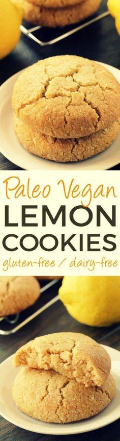 - Paleo Lemon Cookies (vegan, grain-free, gluten-free, dairy-free) - These soft and chewy paleo lemon cookies are vegan, grain-free, gluten-free, and dairy-free. via: @texanerinbaking