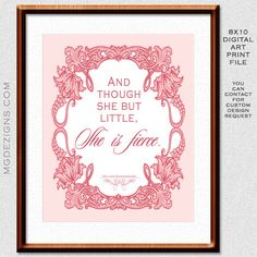 Printable, she is little, shakespeare quote, vintage Pink baby girl nursery Art Print 8 x10