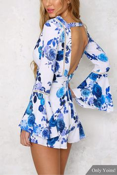Blue V-Neck Bell Sleeve Floral Print Playsuit Dress Outfits, Cute Outfits, Fashion Outfits, Womens Fashion, 50 Fashion, Fashion Styles, Latest Fashion, Fashion Trends, Cute Dresses