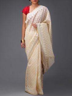 Ivory-Beige Banarasi Cotton Saree by Ekaya
