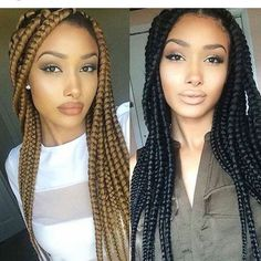 Jumbo box braids hairstyles - Page 3 of 4 - Inspired Beauty Big Box Braids, Jumbo Braids, Blonde Box Braids, Long Braids, Beautiful Braids, Gorgeous Hair, African Braids Hairstyles, Braided Hairstyles, Curly Hair Styles