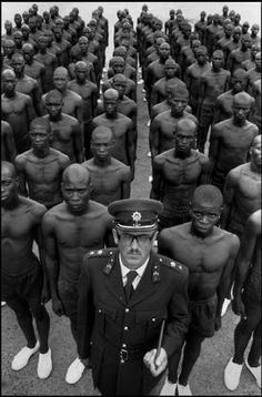 SOUTH AFRICA. Hamanskraal. 1978. Colonel S.J. MALAN, Director of the Police School for Black people, with trainees.
