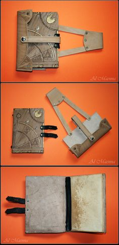 leather spell book for adventures, with belt fastening.