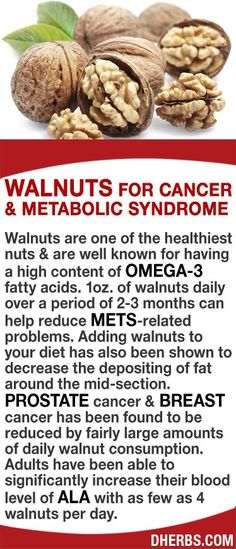 Walnuts are one of the healthiest nuts & are well known for having a high content of omega-3 fatty acids. 1oz. of walnuts daily over a period of 2-3 months can help reduce MetS-related problems. Adding walnuts to your diet decrease the depositing of fat around the mid-section. Prostate & breast cancer has been found to be reduced by fairly large amounts of daily walnut consumption. Adults have been able to significantly increase their blood level of ALA with as few as 4 walnuts per day. #dhe...