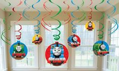 """Includes (6) hanging swirls with cutouts (24"""""""") and (6) foil hanging swirls (18""""""""). This is an officially licensed Thomas the Tank product."""