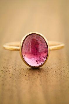 Cabochon Pink Tourmaline Ring