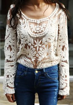Crochet Lace Top - Beige//... would be really cute with a nude tank or long sleeve under it...