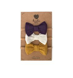 Kishu baby Girl Pom Pom Bibs and Bows Gift Set for Girls, Purple Ivory Mustard, multicolor, One Size