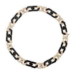 1970s Van Cleef & Arpels Onyx Diamond Link Necklace