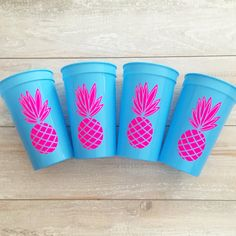Pineapple Stadium Cups - Tropical Themed Party - Pool Drinks - Pool Party - Bachelorette Party - Cute Cups - Pineapple Proper on Etsy