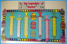"""Writing Myths Elementary Students Creative Writing Templates {Borrow from this concept to create advancement charts to take the """"swords"""" to completion at the end of 3 years - Patrol = Kingdom/Courageous Knights} Teaching Displays, School Displays, Classroom Displays, Ks2 Classroom, Classroom Themes, Google Classroom, Writing Activities, Teaching Resources, Teaching Ideas"""