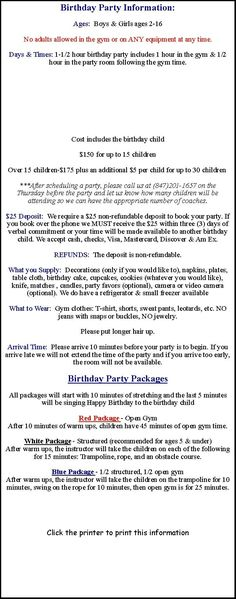 Birthday Party Locations, Gym Time, Birthday Party Venues