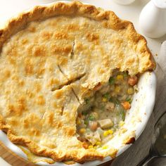 Homemade Chicken Potpie Recipe -Why look for potpie in the frozen food aisle when this easy homemade version tastes much better? Under its golden-brown crust, you'll find the ultimate comfort food for kids and adults. —Amy Briggs, Gove, Kansas