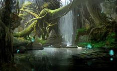 View an image titled 'Denravi Art' in our Guild Wars 2 art gallery featuring official character designs, concept art, and promo pictures. Fantasy Places, Fantasy World, Fantasy Art, Guild Wars 2, Fantasy Forest, Fantasy Setting, Matte Painting, Environment Concept Art, Fantasy Landscape