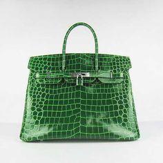 Hermes 2013 Birkin 35CM Crocodile Veins Handbags 6089 Green Silver