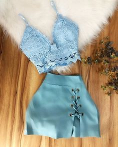 Chic Blue Two Piece Lace Top Short Homecoming Dresses, Homecoming Dresses,Dresses · HotProm · Online Store Powered by Storenvy Teen Fashion Outfits, Grunge Outfits, Cute Fashion, Outfits For Teens, Stylish Outfits, Girl Outfits, Womens Fashion, Luxury Fashion, Cute Summer Outfits