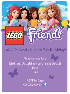 LEGO Friends Party - Sample Invitation  -Used high-res image from Google images and extended purple box down for party information.  Love them!