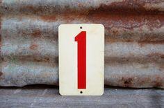 Vintage  Metal Number 1 or Number 5 Double by TheOldTimeJunkShop, $25.00