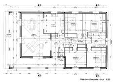 Photo Maison en bois Plan de maison en L plain pied Surface   plan ...