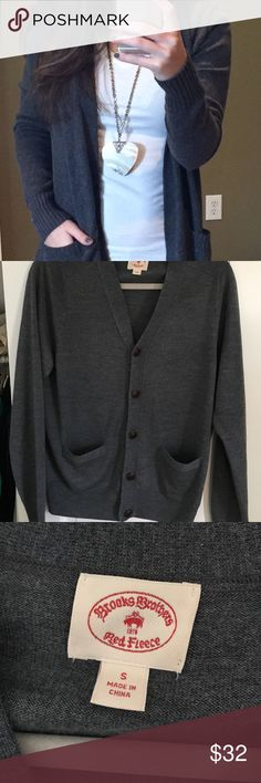 Brooks Brothers dark grey boyfriend cardigan Merino wool. Men's size small but I wore it as an oversized look. Super comfortable and cozy to layer for fall. Thank you for looking and feel free to ask any questions/make an offer! Please note that I do not trade and only accept offers through the offer button. Thank you again! Brooks Brothers Sweaters Cardigans