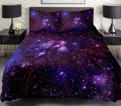 Purple galaxy bedding set purple galaxy duvet cover galaxy sheet with two matching galaxy pillow covers