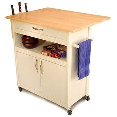 White Base Kitchen Cart with Natural Top | Overstock.com Shopping - The Best Deals on Butcher Blocks