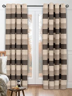 Mason Stripe Latte Curtains from Curtains 2go