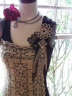 steampunk summer fashion clothing heirloom lace vintage upcycled clothing shirt blouse. $32.00, via Etsy.