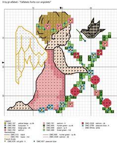 alfabeto fiorito con angioletto X