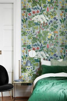 Aurora-Design by Lisbet Jobs.Lisbet Jobs' most distinguished … Master Bed wall. Aurora-Design by Lisbet Jobs.Lisbet Jobs' most Aurora Design, Vibeke Design, Chinoiserie Wallpaper, My New Room, Scandinavian Design, Scandinavian Wallpaper, Bedroom Decor, 70s Bedroom, Bedrooms