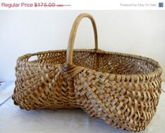 ON SALE Vintage French Gathering Basket Buttocks Home Decor