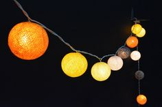20 Lights - 5 Color Gold&Yellow Tone Cotton Ball String Lights Fairy Lights Patio Lights Wedding Lights Decoration Lights