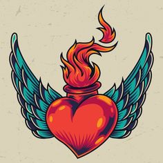 Black And Purple Background, Merry Christmas Poster, Fire Vector, Dibujos Tattoo, Herz Tattoo, Tattoo Master, Retro Tattoos, Heart Illustration, Heart With Wings