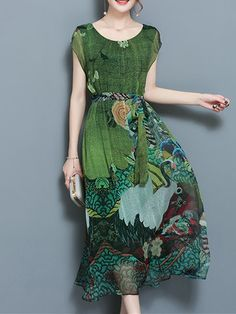 Gracila Women Interessiert mich sehr Printed Short Sleeve Mid-Long Dresses Shopping Online - NewChic Mobile.