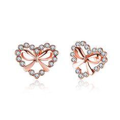 2016 Hot Sale Love Romantic Heart & Bowknot Bling CZ Rose Gold Women Piercing Stud Earrings For Wedding Christmas Jewelry Gifts Wedding Earrings, Women's Earrings, Wedding Jewelry, Rhinestone Earrings, Heart Earrings, Jewelry Gifts, Jewelery, Baby Jewelry, Girls Jewelry