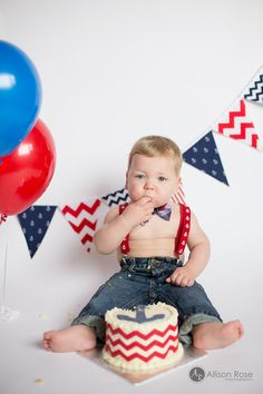 Allison Rose Photography 1st Birthday Cake Smash Anchors Navy and Red Nautical Theme