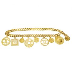 Pre-Owned Vintage Chanel Big Charm Chunky Chain Belt Necklace (4,345 BAM) ❤ liked on Polyvore featuring jewelry, necklaces, chanel jewelry, multi colored necklace, vintage charm, long charm necklace and multicolor necklace